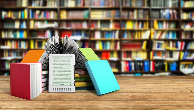E-book reader Books and tablet library background 3d illustratio