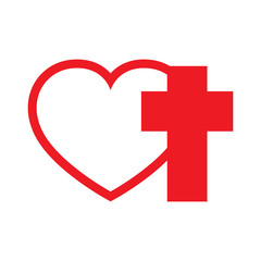 Heart and Christian cross. Vector illustration.