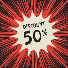 Comic explosion poster with text 50 percent discount