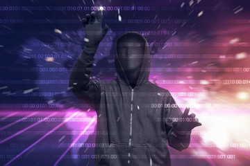 Hooded hacker with mask hacking binary system security code