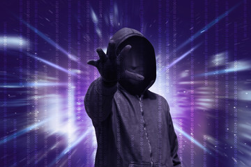 Dangerous hacker with mask want to stealing data
