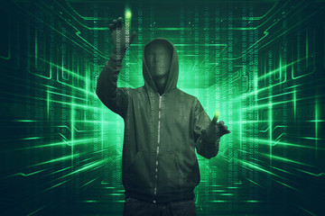 Hacker man with vendetta mask hacking binary system security code