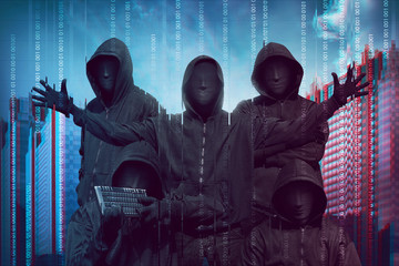 Group of hacker with anonymous mask