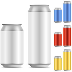 Blank beer of soft drink aluminum can vector template with color
