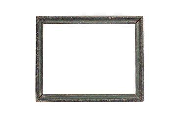 Vintage picture frame wood and old, white background, clipping p