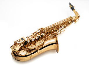 alt saxophone on white