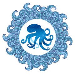 Watercolor octopus vector illustration. Blue octopus silhouette in waved frame.