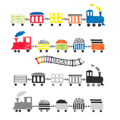Watercolor toy trains for kids design. Vector illustration.