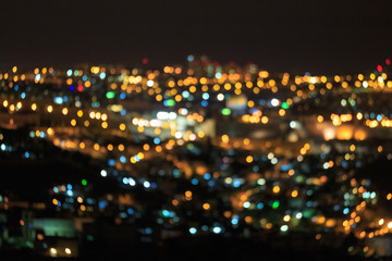 Many colored bright defocused lights