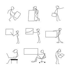 Cartoon icons set of sketch stick bisiness figures in cute miniature scenes.