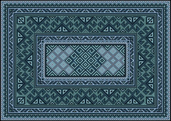 Vintage carpet with ethnic ornament in  green and blue shades