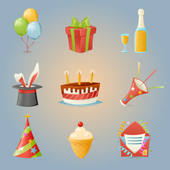 Party Celebrate Birthday Icons and Symbols Set 3d Realistic Cartoon Design Vector Illustration