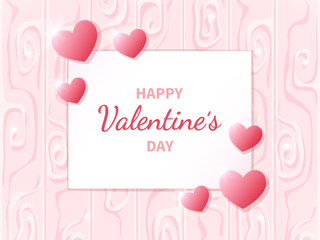 Happy Valentine's Day greeting card with white and pink hearts. Lettering in the middle. Romantic Gift background. Vector Illustration.