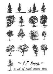 A set of hand-drawn trees