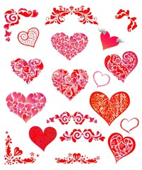 Collection of decorative red abstract hearts