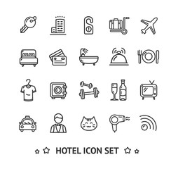 Hotel Icon Thin Line Set. Vector
