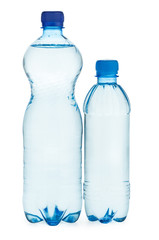 Two plastic bottles with water