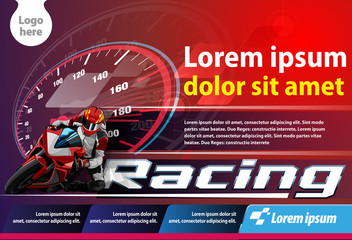 Vector template, poster or print ads motorcycle racing championship event.