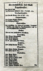 Page of the Salzburg court calendar with Mozart position 1775