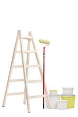 Ladder, paint roller and color buckets