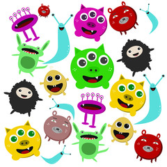 set of cute colorful cartoon monsters