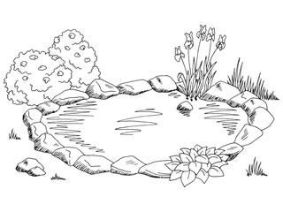 Pond graphic black white landscape sketch illustration vector