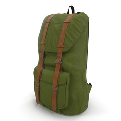 Green Backpack isolated in white. 3D illustration