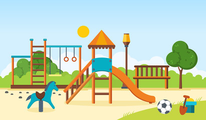 Kids playground, horizontal bars, swings, walking park, children's toys.