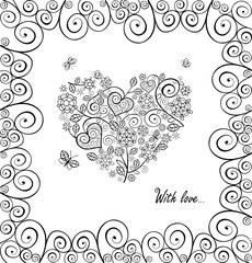 Love black and white concept for Wedding design with lacy curled hearts