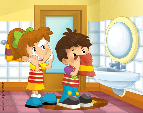 Quot Cartoon Kids In The Bathroom Girl And Boy Washing Face