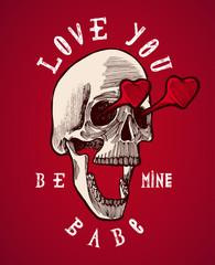 skull in love valentines grunge card.