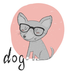 Small, cute puppy spectacled sketch doodle. Vector illustration.