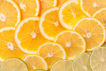 Orange, lemon and lime slices abstract seamless pattern texture