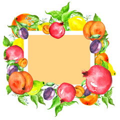 Watercolor, vintage postcard, frame, label, pattern, with an illustration of fruits -  lemon, citrus, pear on the branch, peach, apricot, plum. For the design of cards, invitations, logos