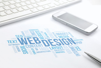 Web Design business concept word cloud print document, keyboard,