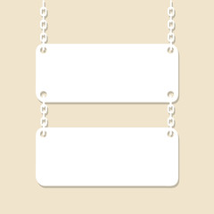 Blank signboard hanging on chain. Paper cutout. Vector illustrat