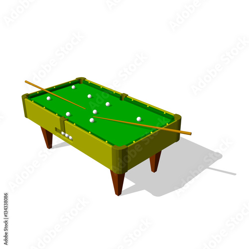 """""""Billiard Table.Isolated On White Background.3d Vector"""