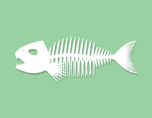 Fish skeleton. Isolated on green background. Paper cutout. Vecto