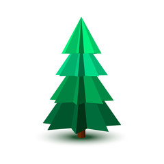 Spruce tree.Isolated on white background.3d Vector illustration.