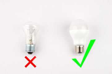 several LED energy saving light bulbs over the old incandescent, use of economical and environmentally friendly light bulb concept