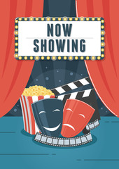 Now Showing Cinema. Can be used for flyer, poster, banner, ad, and website background.