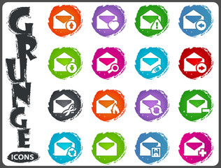 Mail and envelope icons set in grunge style