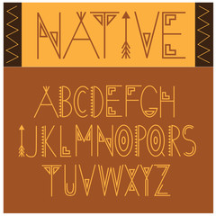 Native Font Symbol Icon Alphabet A through Z. An interpretation of Native American or aboriginal writing. EPS 10 vector.