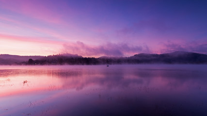 Fog over Lake Solina at dawn