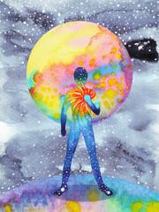 human and universe power, watercolor painting, chakra reiki, inspiration abstract art