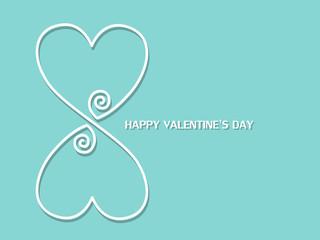 Heart white line Valentine's day on blue background