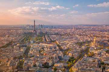 City of Paris. Aerial image of Paris, France during golden sunset hour.