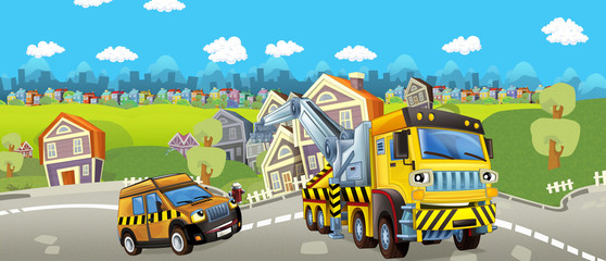Cartoon tow truck and pilot car - illustration for children