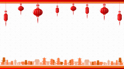 Chinese art style with red lantern and yellow border abstract ba