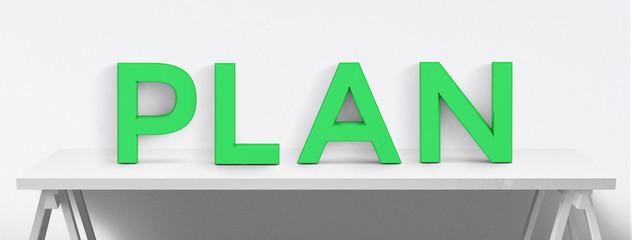 PLAN - Buchstaben auf Tisch - weisser Hintergrund
